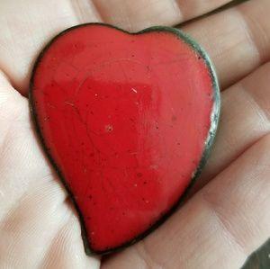 Vintage red heart brooch enamel on copper pin